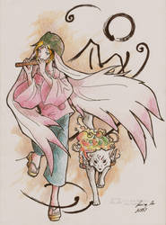 Ushiwaka and Okami Amaterasu by eikomakimachi