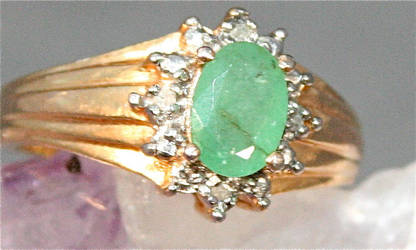 Emerald and diamond Ring by Zen-Art-Gallery