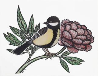 A birb and a peony by nkyvi
