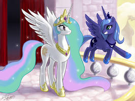 Princess Celestia and Luna by johnjoseco
