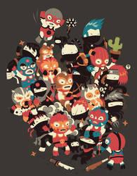 Ninjas vs Luchadores by Bisparulz