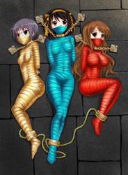 3 girls mummification by otaku100100