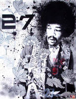 Hendrix Papaer and Spray Paint Collage by Evlisking