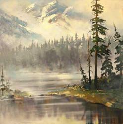 Misty Lake by artistwilder