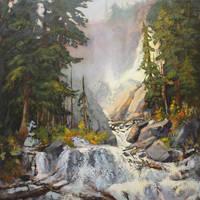 Rocky Mountain Waterfall by artistwilder