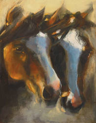 Gentle Nudge acrylic 11 x 14 inches by artistwilder