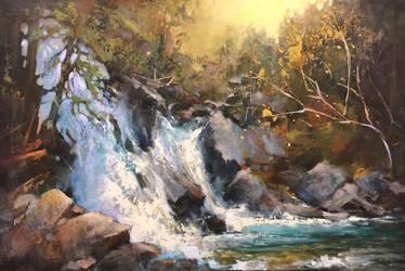 Rainbow Falls,Whistler, BC. acrylic 24 x 36 by artistwilder