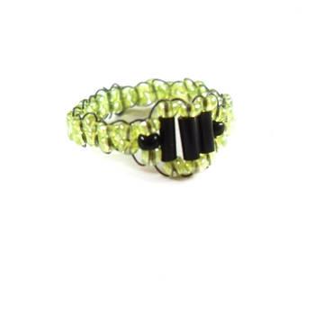 Lime Green Geometric Bead Ring by WildeGeeks
