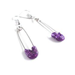 Purple Glittery Safety Pin Earrings by WildeGeeks