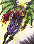 Wiccan and Hulkling Love in Flight by KwongBee-Arts