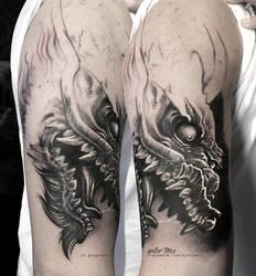 Realistic Japanese dragon in progress by tikos