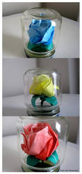 Origami Roses in Mini Jars by sweetcivic