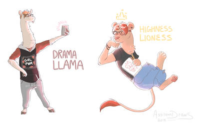 Drama Llama And Highness Lioness by AssilemDraws