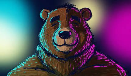Cartoon bear and lights by Jiggsokeken