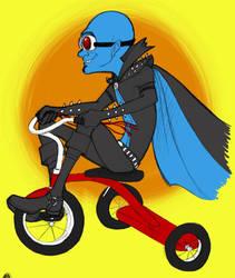 Megamind on a tricycle by akuma-neko