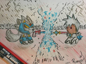 Mecha Frost Wolf vs Frost Wizard by ikafox