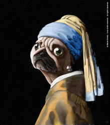 Pug with a Pearl Earing by MarekDolata