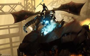 Centurion and dragon companion by DarkGeometryArt