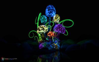 Magical mushroom cluster by DarkGeometryArt