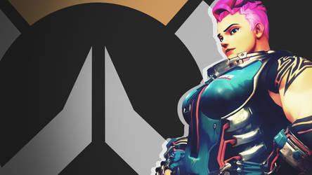 Overwatch Side Profile Wallpaper -  Zarya by PT-Desu