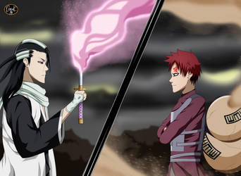 Byakuya vs Gaara by Koniak007
