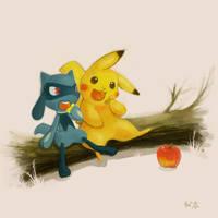 Riolu and Pikachu by nejimakick