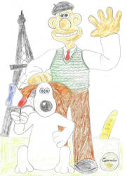 Wallace and Gromit at Paris by Astrogirl500