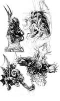 Cthulhu Doodles by sonofamortician