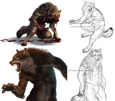 Werewolf sketch and speedpaint dump by Atan