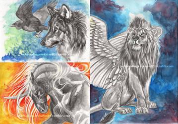 Watercolor/Graphite Aquarelle works by Atan