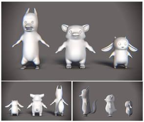 Food Fight WIP Models by ruebird