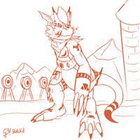 Growlmon the Gatekeeper | Digimon G2 Sketch'd by Hex-G3