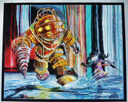 Bioshock Big Daddy Little Sister Colored Draw by Osmancetinyapici