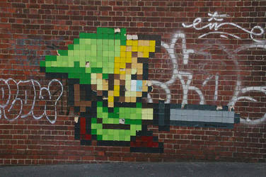 Zelda Pixel art on a wall by PlanksAndSticks