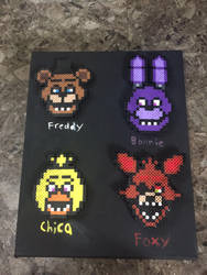 Five Nights at Freddy's Perler Bead on canvas by SonicStarWolfshadow2
