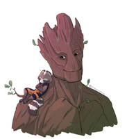 Rocket and Groot by PickedPockets