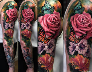 Th Rose tattoo sleeve ideas for women pictures by TattooSoulcom