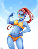 Undertale-Undyne Swimsuit by DeluCat