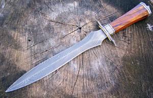 Damascus Ironwood twist Dagger by GageCustomKnives