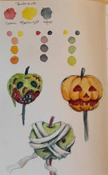 Halloween Watercolor sketchbook page by Loun13