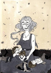 [INKtober 2018] Day 3 - Saphir and her children by MaelysTremblay