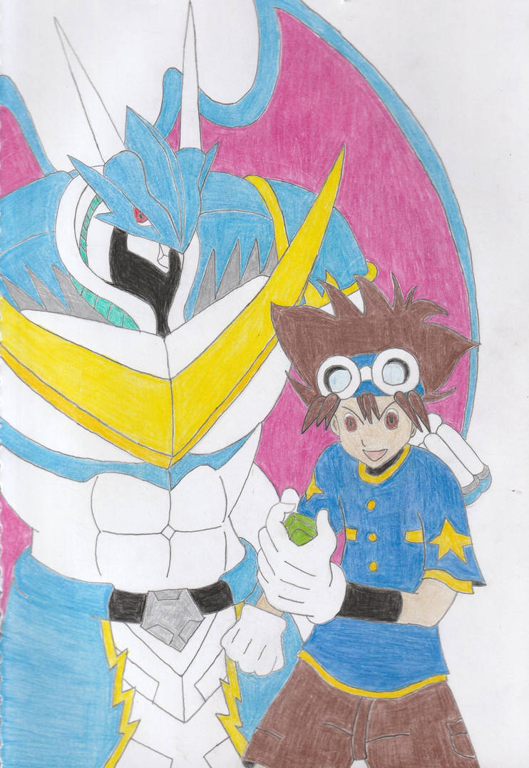 Taichi Yagami and Ulforcevdramon (Scanned) by Rbitencourte