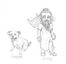 Gaspode and Cheery by sarahmandrake