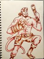 Hellboy doodle by AndrePaploo