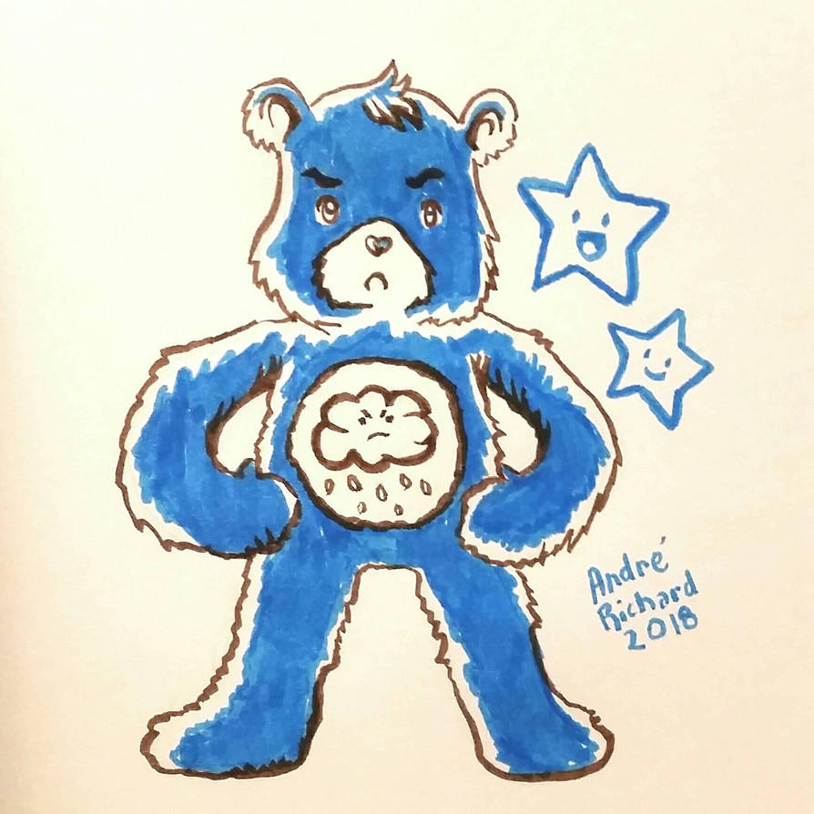 care bears Grumpy Bear inktober 2018 by AndrePaploo