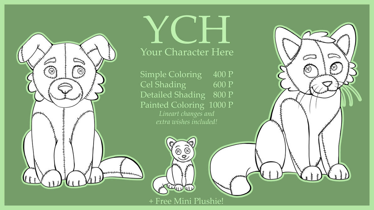 ~YCH - Plushies! Dog and Cat - Your Character Here by UnicornCat