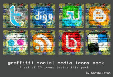 GRAFFITI SOCIAL MEDIA ICON PAC by emperorwarion