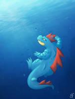 Under the sea - Feraligatr by Llythium-art