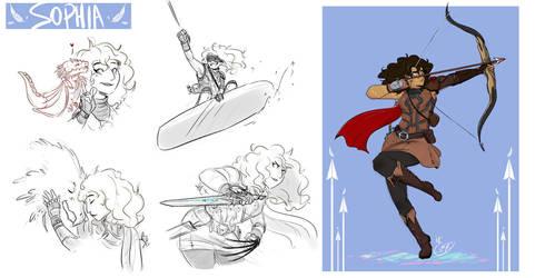 [COMMISSION SKETCH PAGE] Sophia Redblade by Llythium-art