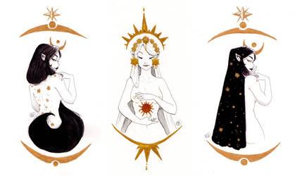 Inktober 2018 - Sun x Moon by Llythium-art
